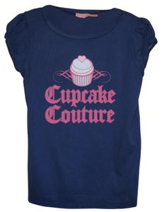 Juicy Couture L Graphic Tee Cupcake T Shirt Navy