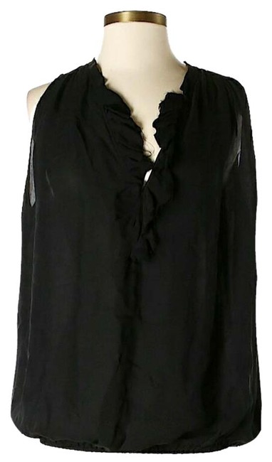 L'AGENCE Silk Ruffle Top Black