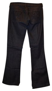 Citizens of Humanity Straight Ingrid Rhinestones Flare Leg Jeans-Dark Rinse