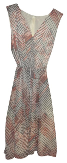Item - Salmon White Pink and Grey Ladies Knee Length Work/Office Dress Size 12 (L)