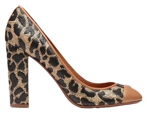 Tory Burch Style # 11148361 Ethel Textured Leopard-print Raffia / Tan Pumps