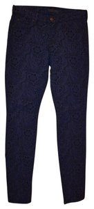 7 For All Mankind Lace Skinny Pants Blue with Black Pattern