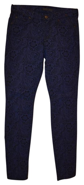 Preload https://item4.tradesy.com/images/7-for-all-mankind-blue-with-black-pattern-lace-skinny-pants-size-4-s-27-15708583-0-1.jpg?width=400&height=650