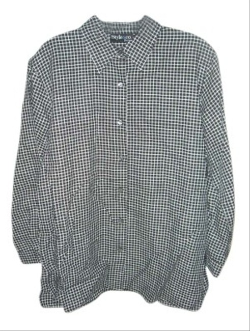 Style & Co Button Down Shirt Black/White