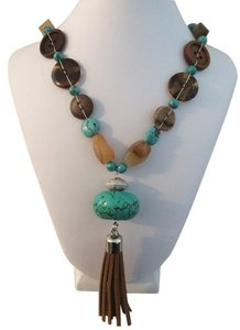 Long Turquoise Button Necklace
