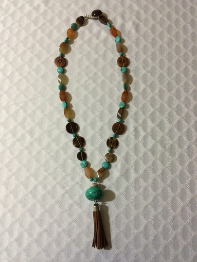 Other Long Turquoise Button Necklace