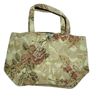 Bovano USA Co Earthtones Floral Brocade Bohemian Gypsy Satchel in Brown & Pink