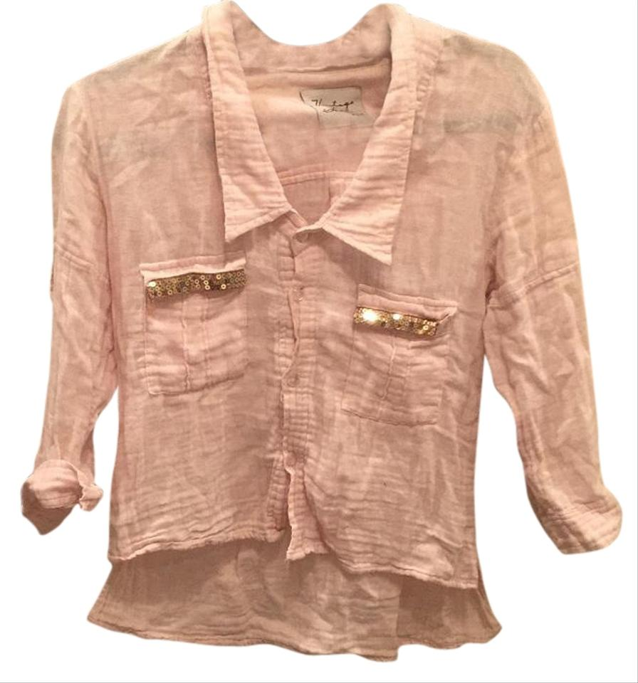 Vintage havana light pink button down top size 4 s tradesy for Pastel pink button down shirt