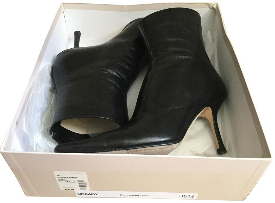 1ffcf0a468f Jimmy Choo Black Saks Fifth Avenue Kid Leather Ankle Logo Zip + Box 38.5  Boots Booties