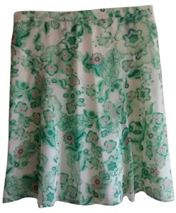 Burberry A-line Silk Lightweight Floral Skirt White, green and pink