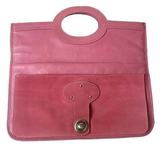 Marc Jacobs Leather Suede Clutch Tote Satchel in bubble gum pink