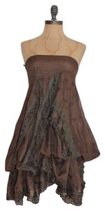 Hazel short dress BROWN Bustle Draped Lace Trim Tunic on Tradesy