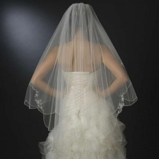 Elegance by Carbonneau Ivory Medium Beaded Two Layer Fingertip Bridal Veil
