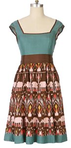 Anthropologie short dress Green, brown on Tradesy