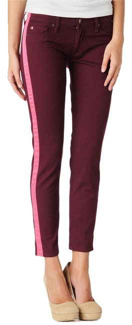 Item - Burgundy & Neon Pink Medium Wash Loulou Mason Tuxedo Stripe Skinny Jeans Size 27 (4, S)