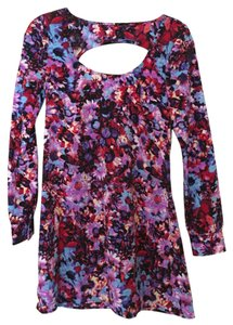 Nasty Gal short dress Purple, Blue, Pink, Red Floral Mini Longsleeve on Tradesy