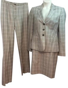 Escada ESCADA PLAID PRINT BROWN 3-PC. PANT SKIRT SUIT 40