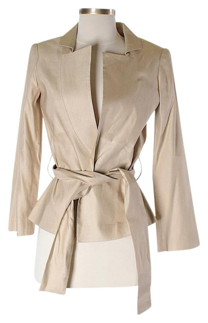 Calvin Klein Collection Silk Linen Metallic Belted Champagne Jacket