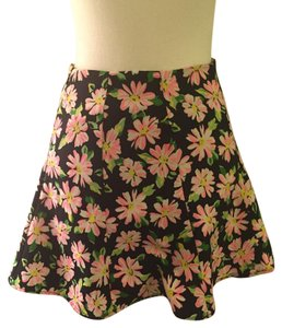 Lush Floral Skater Mini Skirt Navy, pink, white