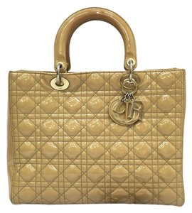 Dior Christian Large Lady Satchel in tan