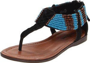 Minnetonka Boho Turquoise Beaded Black with Beading Sandals