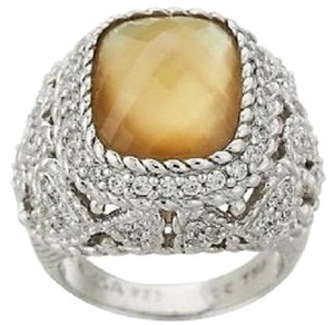 Judith Ripka Judith Ripka Sterling Silver Mother-of-Pearl/Champagne Quartz Doublet Cocktail Ring - Size 6
