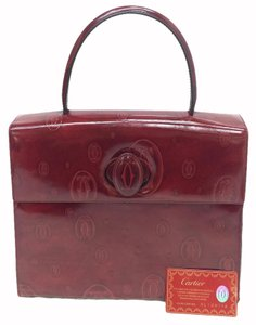 Cartier Top Leather Handle Tote in wine