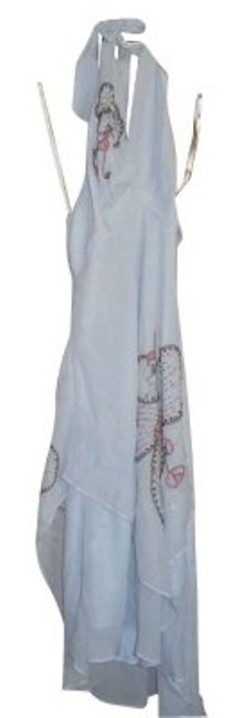 Item - Blue Gray Spring-summer Halter Long Night Out Dress Size 4 (S)