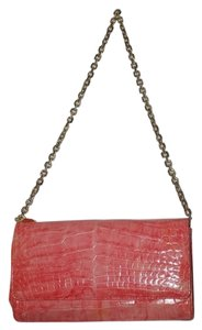 Judith Leiber Crocodile Pink Chain Shoulder Clutch