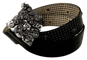 Betsey Johnson Betsey Johnson Black Leather Belt with Rose Theme