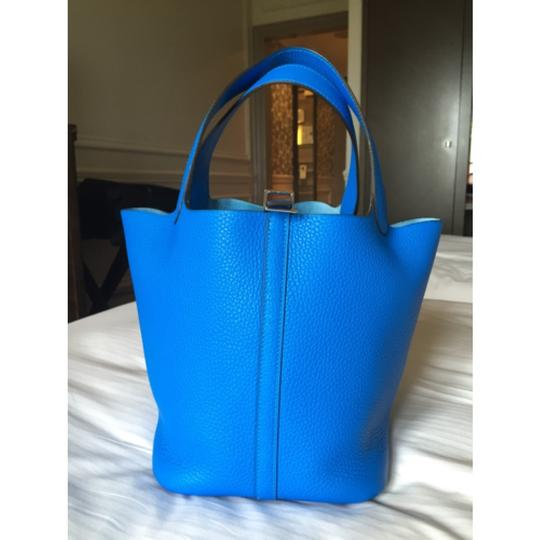 RARE! NEW Hermes Picotin 22 MM Bleu Hydra Clemence Leather Stamp X Tote in Bleu Hydra Image 1
