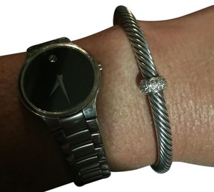 David Yurman 5mm Cable With Single Station Diamonds In Sterling Silver And 18K White Gold