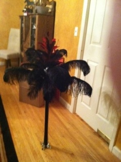 Black with Red and White Accents Ostich Feather Centerpiece