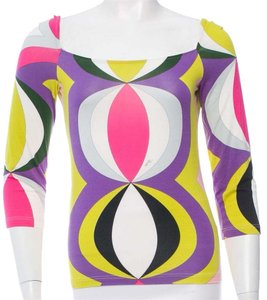 Emilio Pucci Print Longsleeve Summer Logo Monogram Top Multicolor, Purple, Green