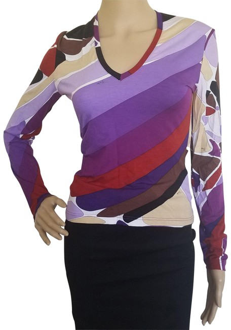Preload https://img-static.tradesy.com/item/15714949/emilio-pucci-multicolor-purple-red-print-long-sleeve-v-neck-knit-blouse-size-8-m-0-3-650-650.jpg