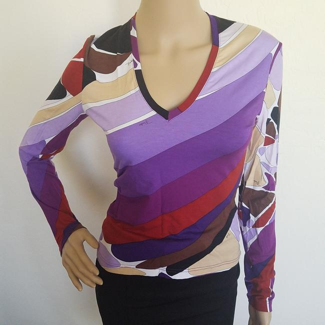 Emilio Pucci Print Longsleeve Summer Logo Monogram Top Multicolor, Purple, Red Image 3