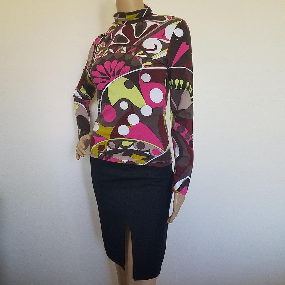 828f8d3c38e8 Emilio Pucci Print Long Sleeve Turtleneck Multicolor Brown Red Sweater
