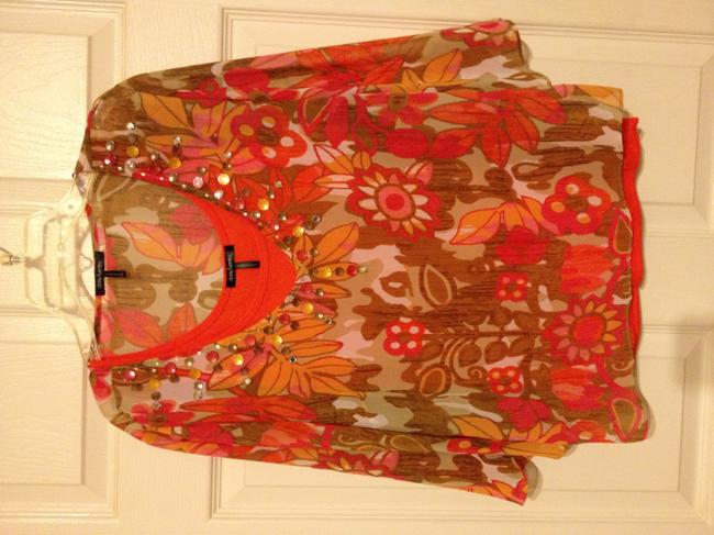 Daisy Fuentes Top orange, salmon, ivory and tan