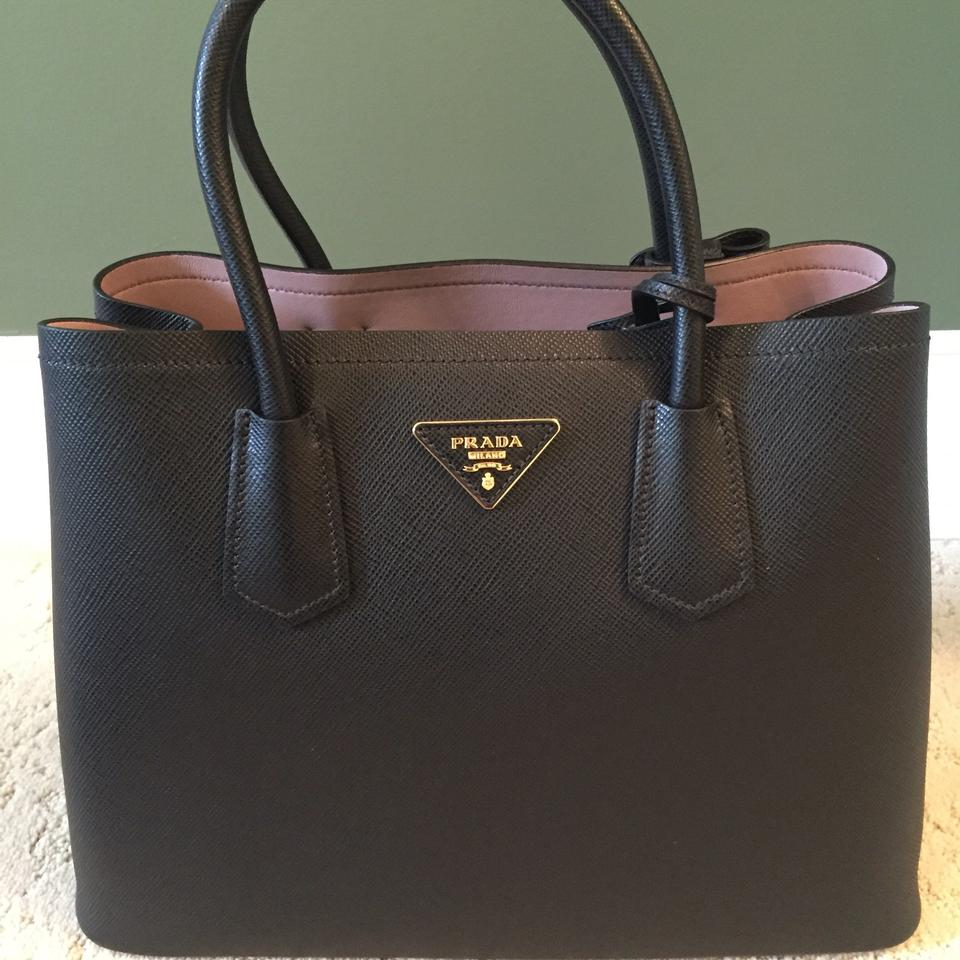 961cde92771c Prada Double Saffiano Cuir Black/Pale Pink Leather Tote - Tradesy