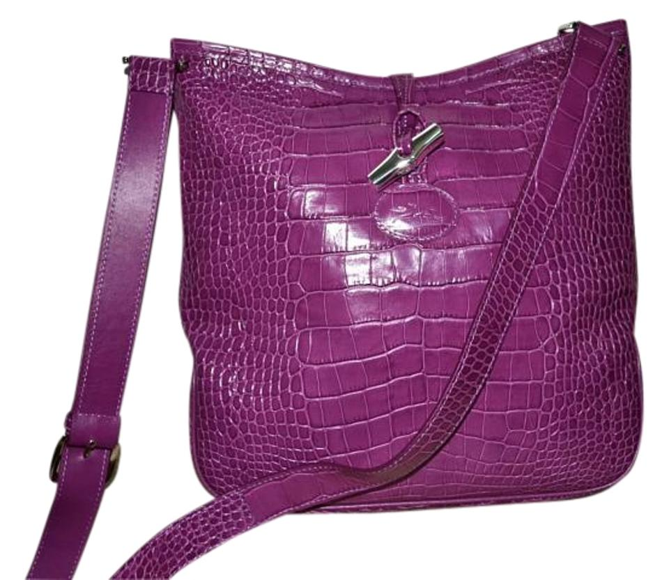 Longchamp Leather Crossbody Croc Hobo Bag