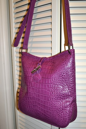 Longchamp Leather Crossbody Croc Leather Hobo Bag