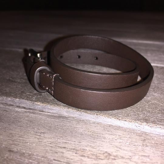 Coach Double Wrap Bracelet Leather Classic Silver Hardware Wristlet in Brown