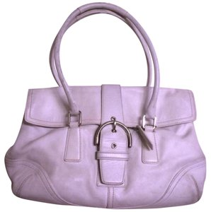 Coach Leather Soho Signature Silver Hardware Satchel in White