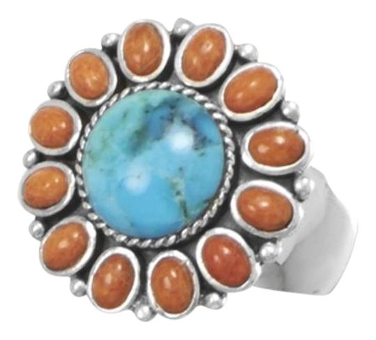 Preload https://img-static.tradesy.com/item/15715861/multicolor-reconstituted-turquoise-and-coral-sunburst-turquoise-ring-0-2-540-540.jpg