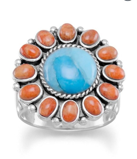 Other Reconstituted Turquoise and Coral Sunburst Turquoise Image 1