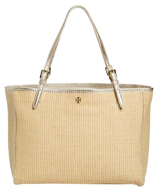 Item - Buckle Tote Large Natural Tan Gold Straw Leather Beach Bag
