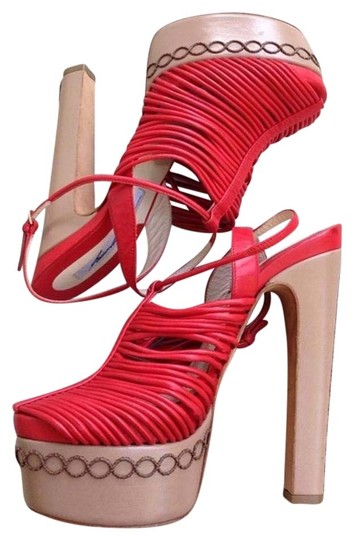 Brian Atwood Leather Strappy Red Platforms