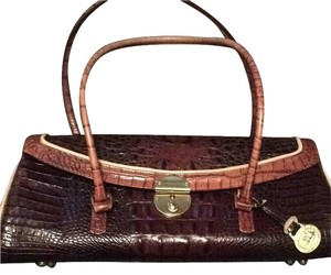 Brahmin Satchel in Browns With Cream Pipings Gold Accents