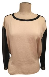 Rag & Bone Top Cream with black edging & sleeves