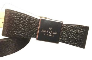 Kate Spade New Kate Spade Black/Silver Leather Logo Bow Belt